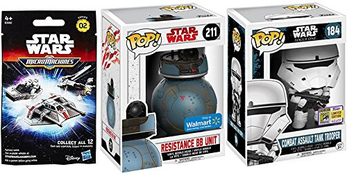 Exclusive Funko Star Wars Character Pop! figures & Micromachines Blind Bag Star Ship / SDCC Combat Assault Tank Trooper #184 & Resistance BB Droid Unit #211 Vinyl Bobble-Head Set