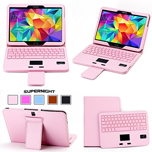 YIPBOWPT Ultra Thin Keyboard Leather Case Cover Detachable Bluetooth Keyboard with Touchpad Mouse + Flip Stand Leather Case For Samsung Galaxy Tab 4 10.1 inch Tablet SM-T530 T531 T535 Tablet.Color:Pink