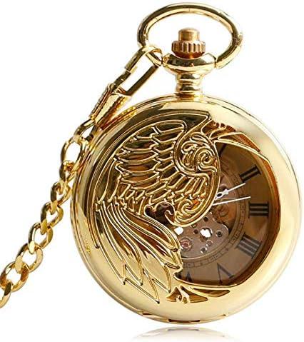 YXZQ懐中時計、クラシックゴールデンクロックスケルトンペンダント絶妙なフェニックス自動機械式自動巻きチェーンギフト