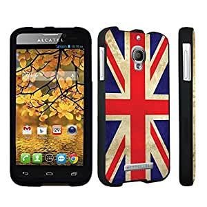 DuroCase ? Alcatel One Touch Fierce 7024W Hard Case Black - (Union Jack Flag)