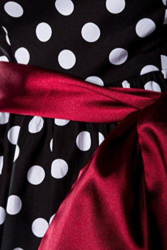 schwarz weiss Up Burlesque Kleid Vintage rot S Gr Pin Rockabilly RnPWXqTn