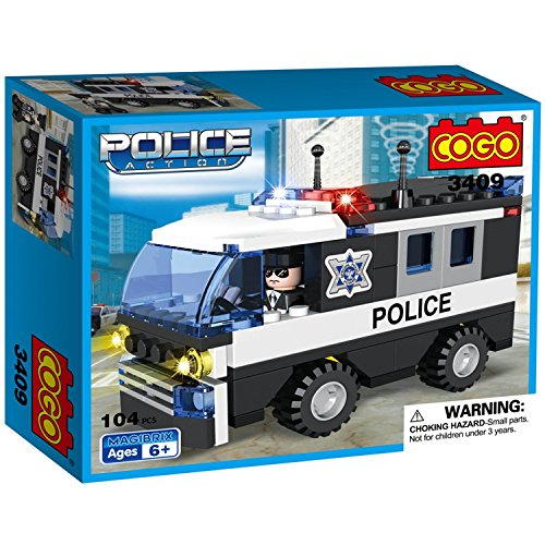 COGO Police Car Vehicle Truck Toy with Policeman Dolls Cruiser Bricks Building Blocks Toys Play Set for Kids Boys and Girls 104 Pieces CG3409