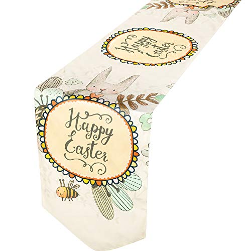 Jovitec Easter Day Table Runner Bunny Bee Happy Easter Table Runner Spring Table Runner for Easter Day Spring Gatherings, 1 Pack (180 x 30 cm, Easter Day)]()