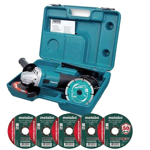 Makita GA4530KD 115mm Angle Grinder Case /& Diamond Blade 110V 5 Metal Discs
