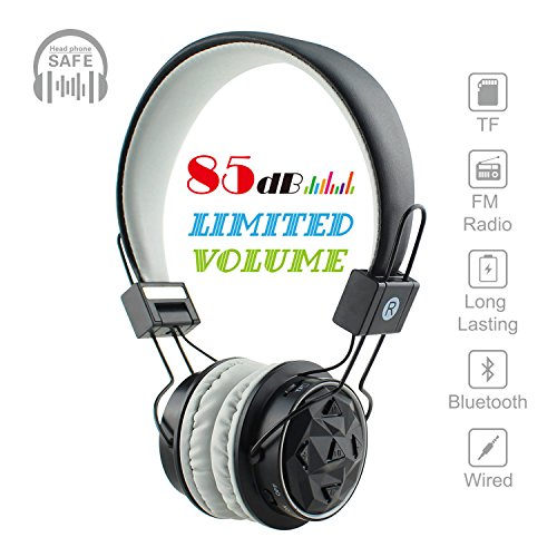 Kids Bluetooth Volume Limiting Headphones Wireless/Wired Toddler Foldable On-Ear Headset Earphones with AUX 3.5mm Jack,Mirco SD Card Slot,FM Radio for Children Boys Girls PC Tablet Cellphone(Grey)