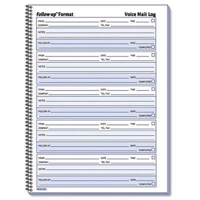 Rediform 51114 Voice Mail Wirebound Log Books 8 x 10 5/8 500 Sets/Book