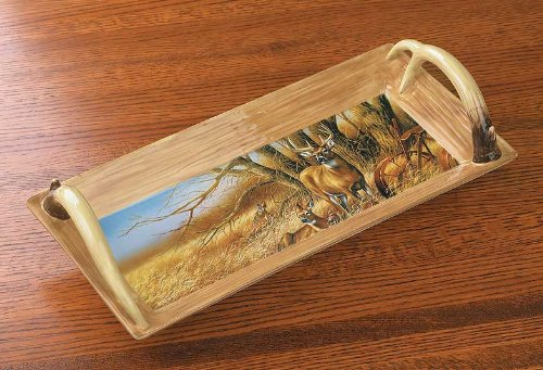 Millet Tray - Whitetail Deer Ceramic Serving Tray by Rosemary Millette