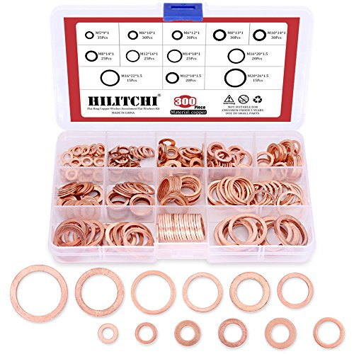 Top Quality Copper Washer, Hilitchi 300-Pcs Flat Ring Copper Washers Assortment Kit - 12 Size