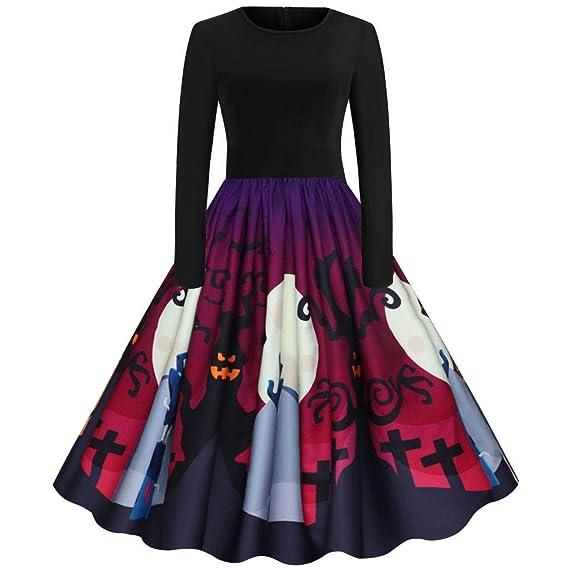 CLOOM Vestidos Halloween Mujer 50S Vinatage Falda Plisada Moda ...