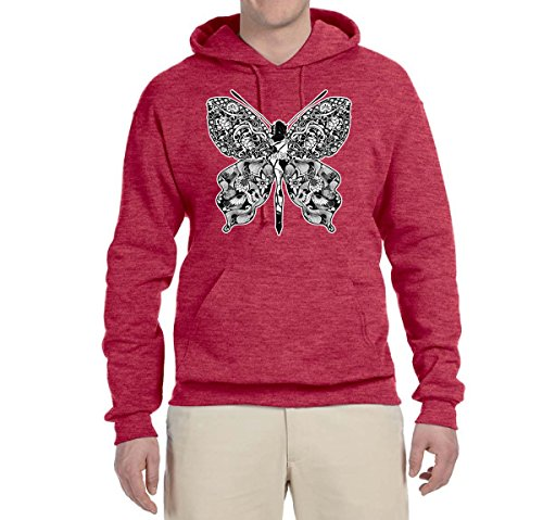 Wild Bobby Nouveau Butterfly Pattern | Unisex Fashion Hooded Sweatshirt Graphic Hoodie, Vintage Heather Red, Large (Butterfly Hoodie Graphic)