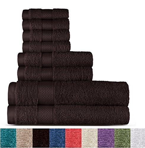 Welhome 100% Cotton 8 Piece Towel Set (Chocolate); 2 Bath Towels, 2 Hand Towels and 4 Washcloths, Machine Washable, Super Soft ()