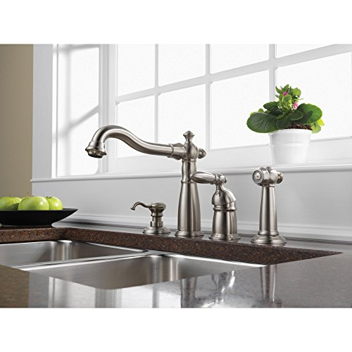 Collection Deck Mount Kitchen Faucet - Delta Stainless Steel Victorian Collection Single Handle Kitchen Faucet with Sidespray and Deck Mount Soap Dispenser Package D003CR