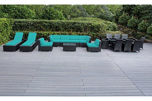 Genuine Ohana Outdoor Sectional Sofa and Dining Wicker Patio Furniture Set with Free Patio Cover (18 pc set/Sunbrella Aruba)