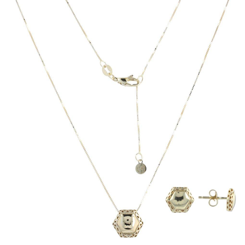 14kt gold ''Hexagon'' jewelry set - Gioiello Italiano
