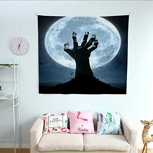 ParadiseDecor Halloween Simple Tapestry Realistic Zombie Earth Soil Full Moon Bat Horror Story October Twilight Themed Big Tapestry 55W x 55L InchBlue Black -