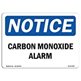 OSHA Notice Signs - Carbon Monoxide Alarm | Choose from: Aluminum, Rigid Plastic Or Vinyl Label Decal | Protect Your Business, Construction Site, Warehouse & Shop Area |  Made in The USA