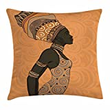 Ambesonne African Woman Throw Pillow Cushion Cover, Indigenous People of Africa Theme Local Woman in Traditional Turban and Dress, Decorative Square Accent Pillow Case, 36 X 36 inches, Multicolor