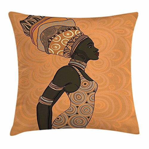 Ambesonne African Woman Throw Pillow Cushion Cover, Indigenous People of Africa Theme Local Woman in Traditional Turban and Dress, Decorative Square Accent Pillow Case, 36 X 36 inches, Multicolor by Ambesonne