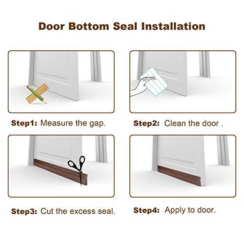 Bottom Door Blocker Under Strip Seal Sweep Weather Stripping Draft Stopper Self-Adhesive Tape Bugs Guard Energy Saver Soundproof Noise Cold Air Gap Insulator 2'' x 39'' (White) by Gadgets of George by Gadgets of George (Image #5)