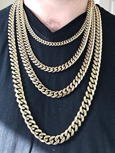 2d24c24b2fda9 Harlembling Men's Miami Cuban Link Chain 14k 18k Yellow Gold White ...