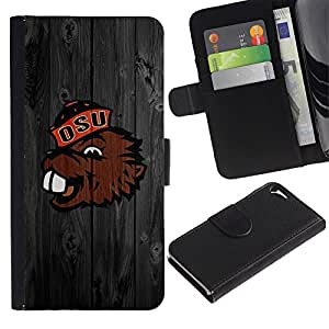 UNIQCASE - Apple Iphone 5 / 5S - Benny Beaver Oregon Football - Cuero PU Delgado caso cubierta Shell Armor Funda Case Cover