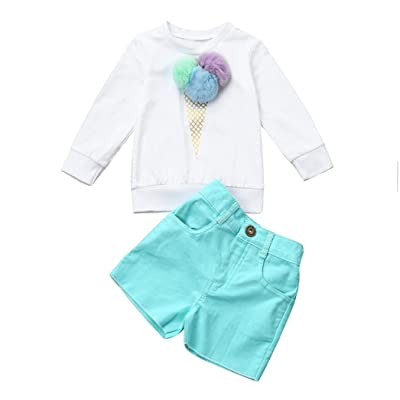 c5006840b09 2pc Kids Baby Girl Ice Cream Sweatshirt Tops+Short Pants Outfit Set Fall  Clothes