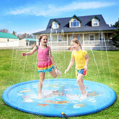 (Pellor Sprinkler Water Pad,Multi-Size Kids Outdoor Thickening PVC Water Spray Pad Summer Outdoor Patio Sprinkler Pad (170cm-B))