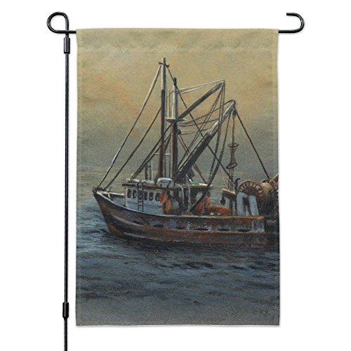 Graphics and More Fishing Boat Ocean Mist Garden Yard Flag with Pole Stand ()