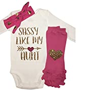 Simply Swanky Baby Girl Sassy Like My Aunt Outfit Sassy Like My Aunt Baby Girl 3 Piece Set (3M)