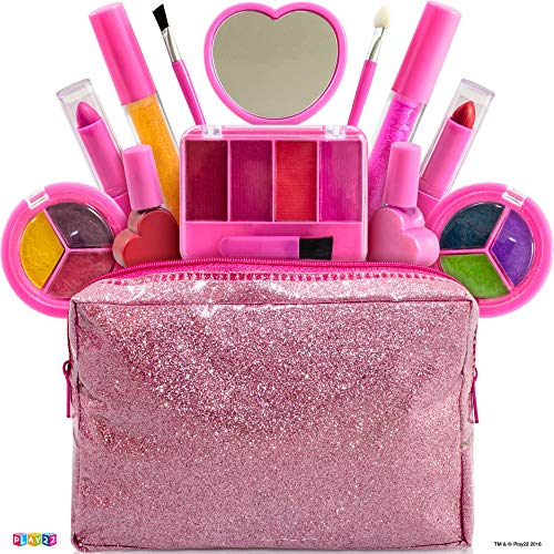 Kids Makeup Kit For Girl - 13 Piece Washable Kids Makeup Set - My First Princess Make Up Kit Includes Blush, Lip Gloss, Eyeshadows, Lipsticks, Brushes, Mirror Cosmetic Bag Best Gift For Girls Original