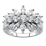 Sterling Silver Marquise Cut Cubic Zirconia Starburst Cluster Cocktail Ring Size 9