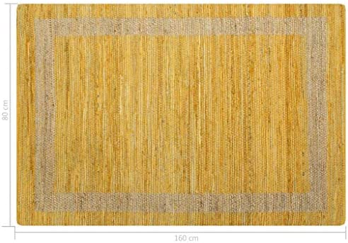 Festnight Alfombra de Yute Rectangular 120 x 180 cm Amarillo y ...