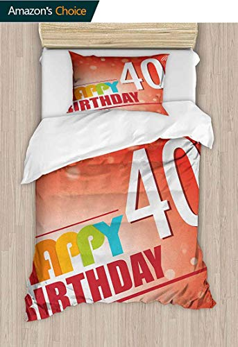 (40th Birthday Home Duvet Cover Set,Party Invitation in Vibrant Colored Retro Style and on Bokeh Effect Backdrop Print Quilt Cover Set White Queen Pattern Bedding Collection 47