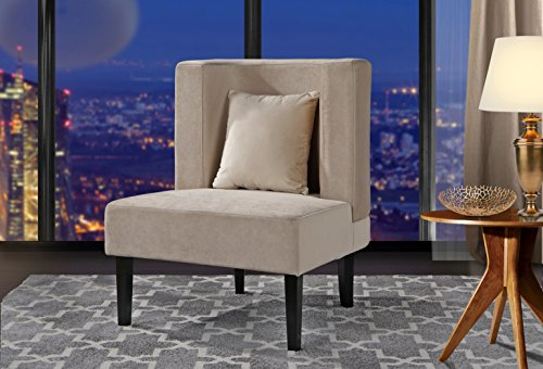 - Accent Chair for Living Room, Upholstered Armless Velvet Chairs with Back Cushion and Natural Wooden Legs (Beige)