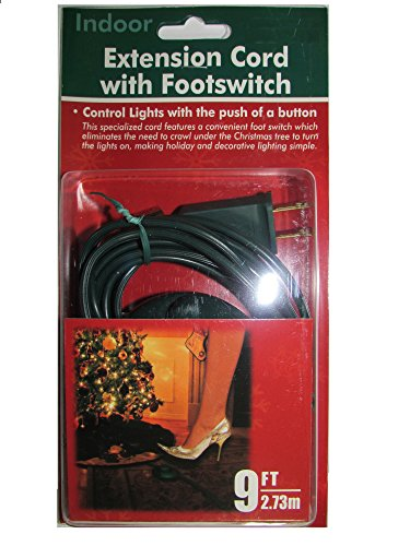 Dobar 9 Foot Christmas Extension Cord with On/Off Foot Switch - UL Listed (Green) ()