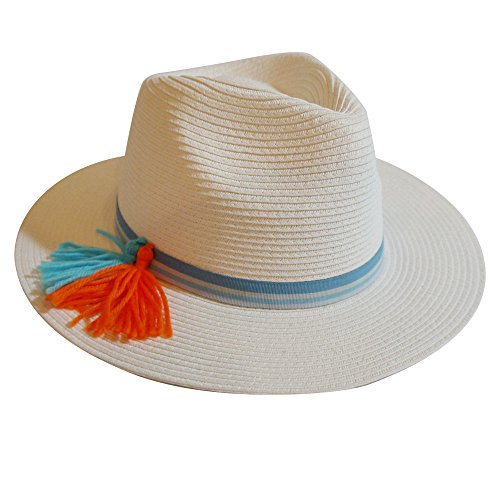 MAISON DE COCO Panama Hat -Adjustable sized Point Tassel w/ Stripe BandSummer Straw Fedora Hat-Multi