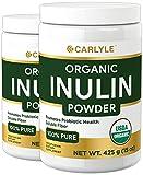 Organic Inulin Powder | 2 x 15 oz Pack | Vegetarian, Non-GMO, Gluten Free | Prebiotic FOS Fiber | Natural Sweetener | from Jerusalem Artichoke | by Carlyle