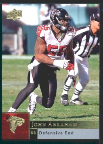 John Abraham - Falcons - 2009 Upper Deck NFL Football Trading Card In Protective Screwdown Case (2009 Nfl Trading Cards)