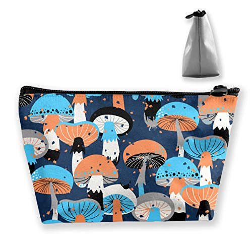 Different Mushrooms Portable Travel Cosmetic Pouch Storage Makeup Bag Classic Zipper Trapezoid Purse for Women Men Business ()