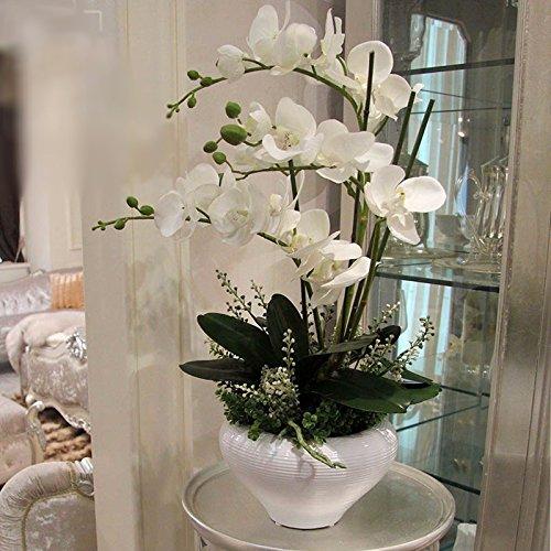 LCoran Orchidea Fiore artificiale PU impostare ceramica pentola floreale Bianco Decorativo perfetto per la scrivania di un hotel da camera da letto LCoran Artificial flower