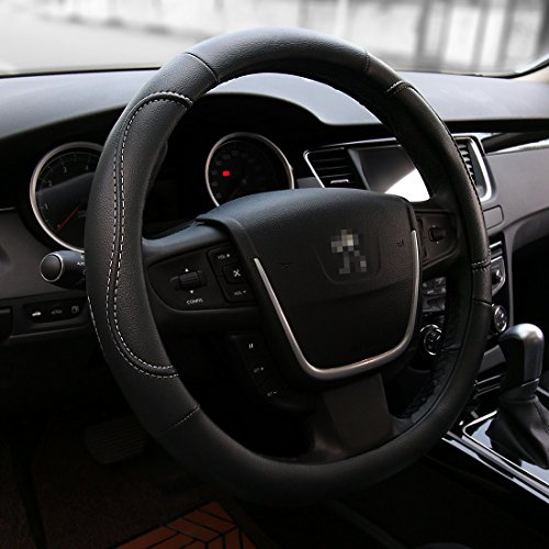 AOTOMIO Black Steering Wheel Cover All Weather Protection Fits All Standard Size 15