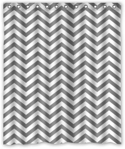 Grey Black White Zig  Zag Chevron Fabric Shower Curtain ~ New