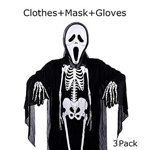 Y-BOX Kaliste Halloween Costume Skeleton Unisex Scary Costume for Adult Women Men, Set of 3 (Robe, Gloves, Mask) (Black)