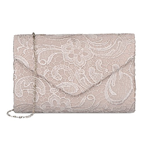 Baglamor Women's Elegant Floral Lace Envelope Clutch Evening Prom Handbag Purse(Apricot)