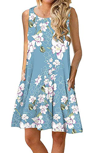 Silvous Casual T Shirt Dress Sleeveless Summer Floral Tshirt Dress with Pockets (Floral Light Blue M) ()