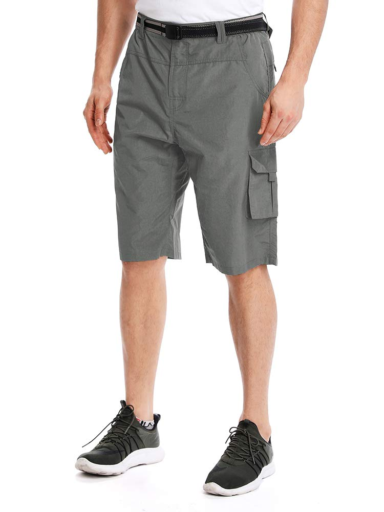 Men's Outdoor Tactical Shorts Lightweight Expandable Waist Cargo Shorts with Multi Pockets Quick Dry Water Resistant,#3506,Grey,US 30 by Toomett