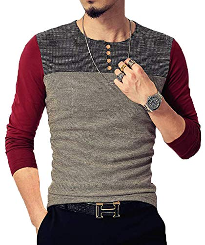 Neoyowo Mens Patchwork Shirt Long Sleeve Contrast Color T-Shirt Casual Stitching Buttons Henley Tops (Wine Red, XL)