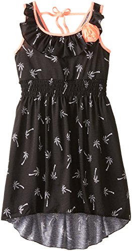 Zunie Big Girls' Printed Knit Dress, Black/White, 8
