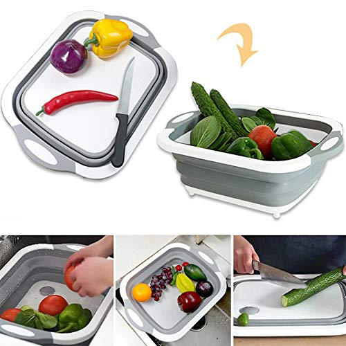 (Collapsible Fold Cutting Board with Dish Tub Space Save Folding Washing Bowl Draining Basket Basin Sink Colander with Plug Chopping Slicing Board Wash Strainer for Camping Picnic BBQ Kitchen)