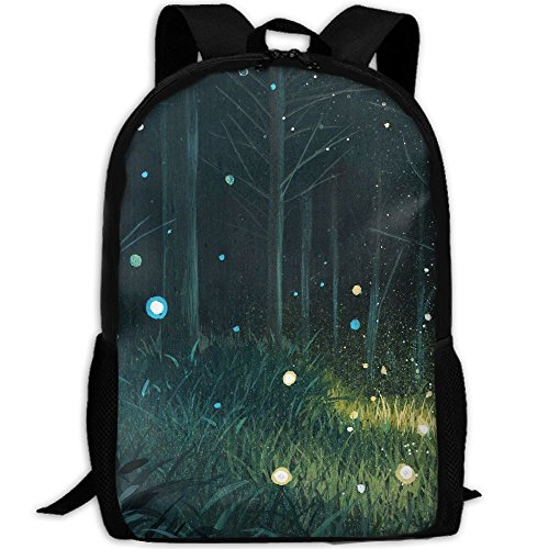 Summer Night Forest Fireflies Unique Outdoor Shoulders Bag Fabric Backpack Multipurpose Daypacks For - Sunglasses Firefly